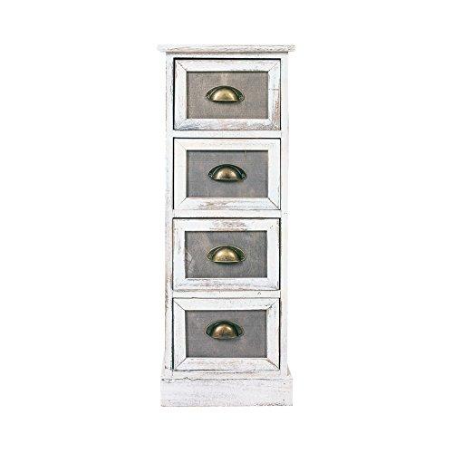 Rebecca Mobili ladekast 4 lades houten grijze retro design zitkamer - 80 x 29 x 25 cm (H x B x D) - kunst. RE4889