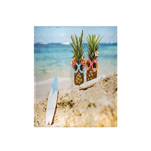 DLBBABZ - Manta de forro polar con diseño de piña de verano para la playa y las gafas de sol, ligera, cálida, 122 x 152 cm, lavable, súper suave para sofá, sillas, cama