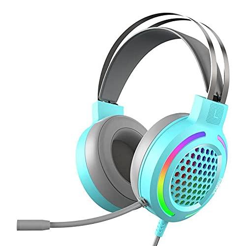 RGB Light Wired Professional Gaming Headset, Surround Sound Over-Ear-Kopfhörer mit Mikrofon, für PC, Laptop, modischer Kopfhörer mit mehreren Farben zur Auswahl, für PU-BG beim Live-Chat