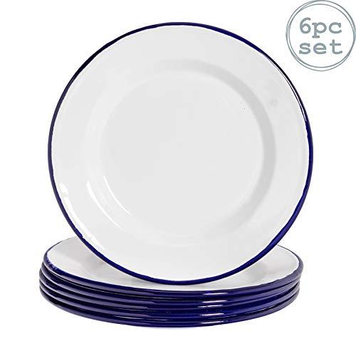 """Argon Tableware Premium White Enamel Dinner Plates - 219mm / 9"""" - Blue Trim - Pack of 6"""