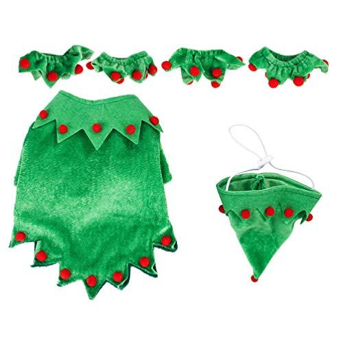 Amosfun Traje de Perro de Navidad con Sombrero Traje de Ropa de Perro Lindo Elfo Traje de Perro de Navidad para...