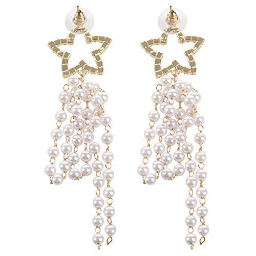 Basage Pentagram Earrings Europe And America Exaggerated Long Pearl Tassel Earrings Female Temperament Earrings Earrings