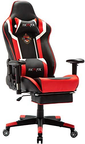 Ficmax Gaming Stuhl mit Massage, Ergonomischer Bürostühle Gamer Sessel für Computer, PU-Leder E-Sport Racing Stühle mit Fußlehne, Lendenkissen Büro Sessel für PC (Schwarz)