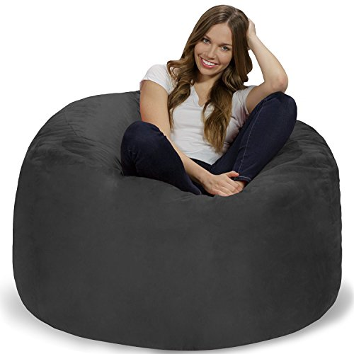 Chill Sack Bean Bag Chair: Giant 4' Memory Foam Furniture Bean Bag - Big Sofa Soft Micro Fiber Cover - Charcoal
