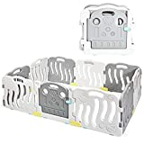 INFANS Baby Playpen, 10-Panel Kids Safety Activity Center Playard w/Non-Slip Foot Mats & Card Buckles, Safety Lock, HDPE, Adjustable Shape for Indoor Outdoor, Infant & Toddler Fence (White & Grey)
