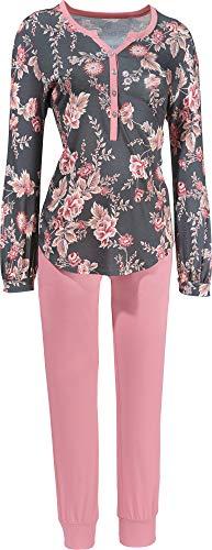 Rösch Damen-Schlafanzug Single-Jersey grau/rosé Größe 44