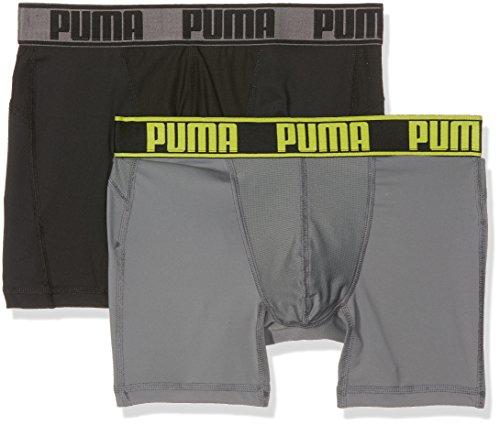 PUMA Herren Active Boxer 2P Packed Unterwäsche, Grey Yellow, XL (2er Pack)