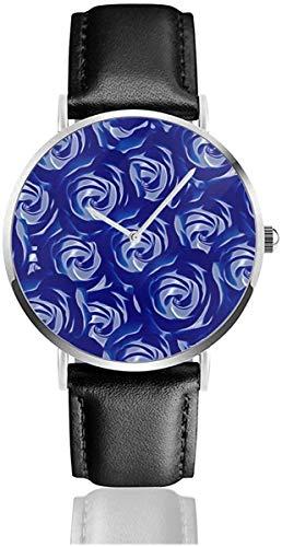 Blue Rose Flower Black Quartz Movement Stainless Steel Leather Strap W