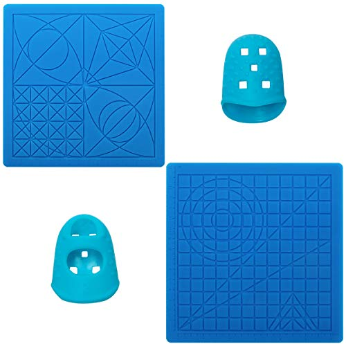 CoiTek 3D Printing Pen Mats 2 Pack, Multi-Shaped Silicone 3D Basic Template Printing Mat Accessories with 2 Finger Protectors for Beginners Kids Adults