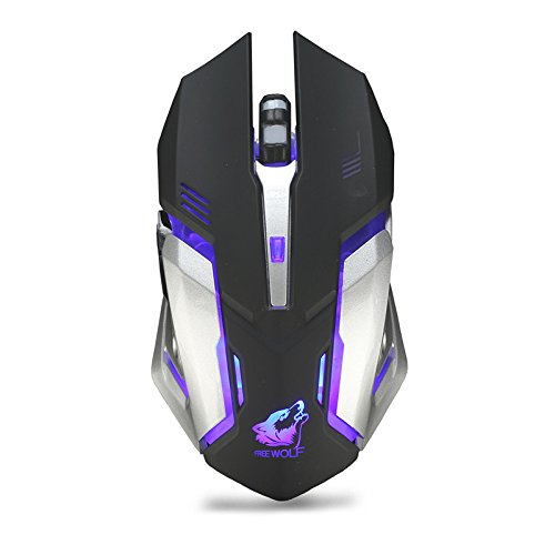 DDgrin Wireless Gaming Mouse,Rechargeable LED Breath Light Silent Mouse,Three Speed DPI Adjustment, USB Optical Ergonomic Mice with 6D Fuction Button