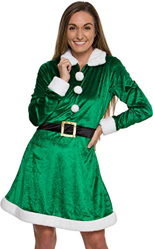 Silver Lilly Women's Holiday Elf Costume Dress - One Piece Fit and Flare Christmas Winter Outfit (Green, Medium)