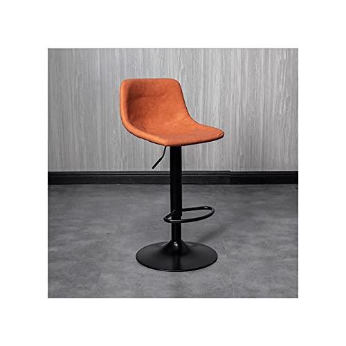 LYLY Taburetes de altura ajustable con respaldo y base de hierro, sillas modernas para encimeras de cocina y comedor (color naranja)