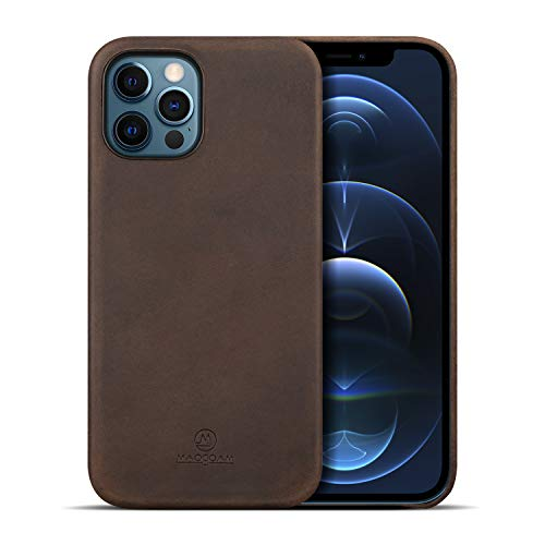 iPhone 12 Pro Leather Case, MAOGOAM Genuine Vintage Oil Wax Crazy Horse Cowhide Leather Case for iPhone 12 & iPhone 12 Pro 6.1', Indiana Jones Style, Handcrafted Fully, (Crazy Horse Dark Brown 6.1')