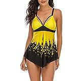YANFANG Traje de baño para Mujer, Bikini Tankini Festoneado Texturizado Sexy Soilds para Mujer Bikini Beachwear Swimmear
