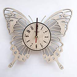 7ArtsStudio Butterfly Wall Clock Made of Wood - Perfect and Beautifully Cut - Decorate Your Home with Modern Art - Unique Gift for Him and Her - Size 12 Inches