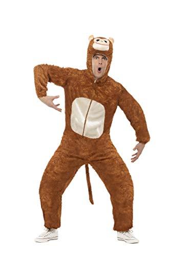Smiffys, Unisex Affen Kostüm, Jumpsuit mit Kapuze, Größe: L, 31677