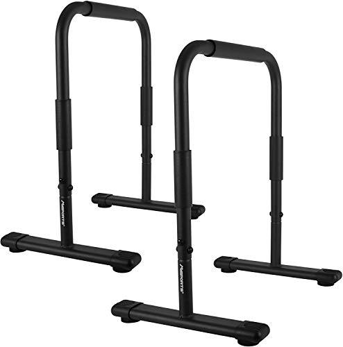 MSPORTS Barras paralelas de fitness prémium (par), 80 x 65 cm, barra de soporte para flexiones, estación de dip y soporte para fitness, color negro