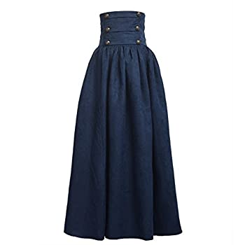 BLESSUME Gothic Skirt Lolita Steampunk High Waist Walking Skirt Blue