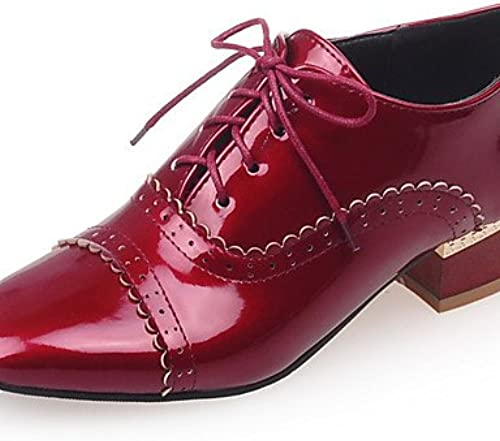IOLKO njx Damen Schuhe Low Ferse quadratisch Oxford Office & Karriere Kleid Casual SchwarzRot Weiß Mandel