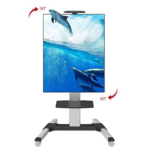 Equipo diario Carrito móvil para TV con ruedas y estante ajustable Soporte para TV con ruedas y soporte para TV LCD LED de pantalla plana de 32 a 65 pulgadas Televisores de plasma Se puede girar 90