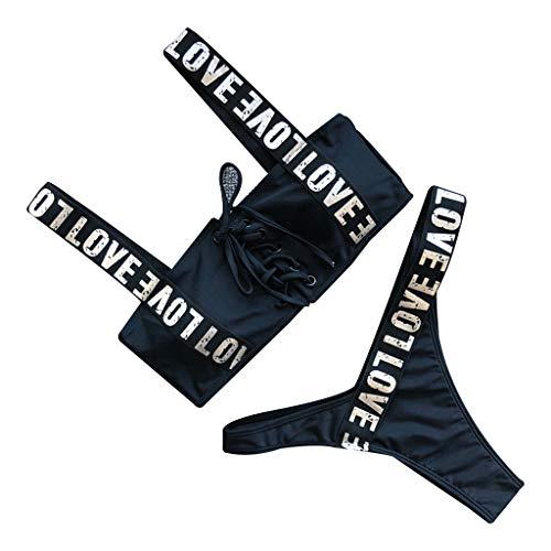 None Brand Damen-Bikini-Set, zweiteilig, mit Kordel zum Zuziehen, BH, Buchstaben, bedruckt, breite Schulterträger, niedrige Taille, unregelmäßiger Bund, Tanga, Badeanzug, Schwarz , S