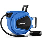 Himimi Enrollador de manguera aire comprimido automático (9,5 mm x 15 m), con accesorios de latón ,enrrollador de manguera de aire,azul.