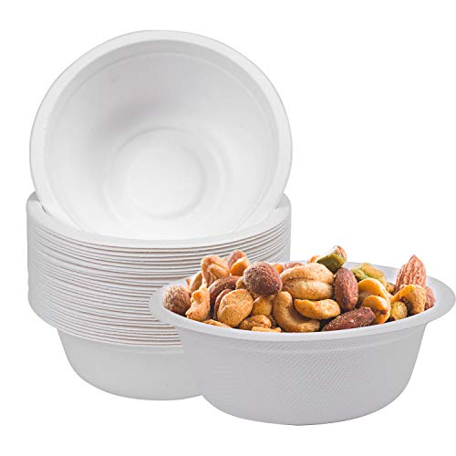 Aneco 30 Pack Disposable Paper Bowls 350ml Strong Bagasse Biodegradable and Recyclable Bowls Safe for Hot and Cold Foods