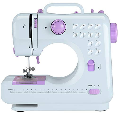 Portable Sewing Machine, Electric Household Sewing Machine for Beginner, Crafting Mending Machine with 12 Built-in Stitches, 2 Speeds Double Thread, LED Light, Thread Cutter and Foot Pedal