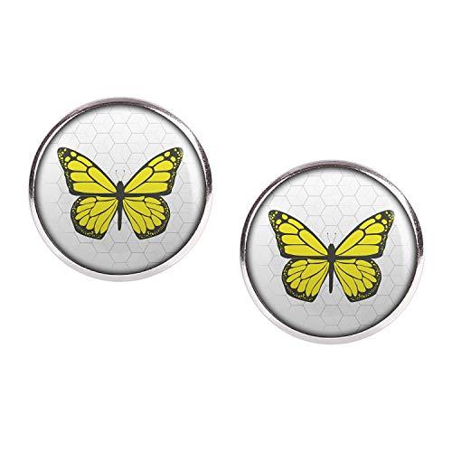 Mylery Ohrstecker Paar mit Motiv Schmetterling Gelb silber 16mm