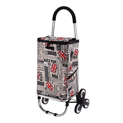 ZGF Trolleys Einkauf, Grocery Shopping Carts, Faltbare beweglicher Trolley Carts, Kletterhaus Treppen Anhänger,Mickey Grey