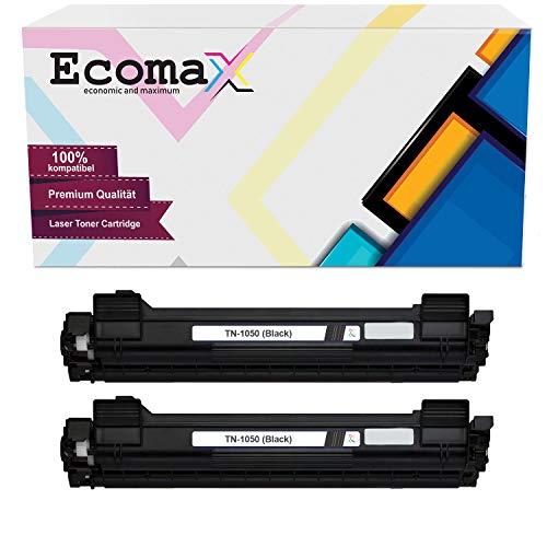 Ecomax 2 toner compatibel met Brother TN-1050 DCP-1510E 1512 1610W HL-1110R 1112 MFC-1810 1815 1910W - zwart 1.500 pagina-capaciteit