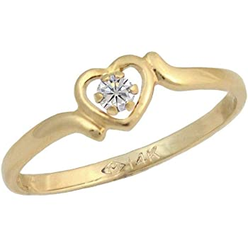 Size 1 Or 4 Kids Jewelry 14K Gold Or Sterling Silver Heart Ring For Girls