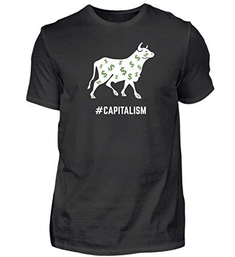 Kapitalismus Bulle Bär Aktien Rendite Dividende Finanzielle Freiheit passives Einkommen - Herren Shirt -XXL-Schwarz