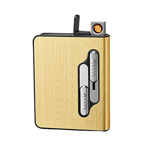 LLZX Estuche de Cigarrillos con encendedores Porta Cigarrillos Bolsillo de Metal de Aluminio Cigarrillos Caja de Tabaco 2 en 1 Recargable Sin Llama A Prueba de Viento