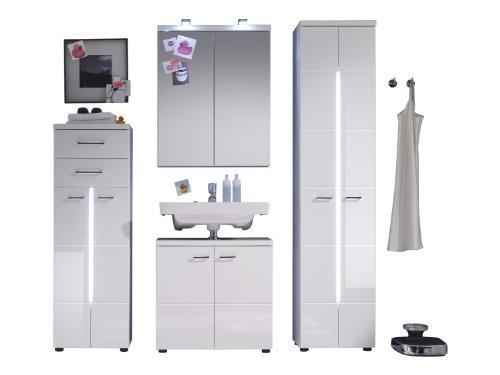 trendteam Badezimmer 4-teilige Set Kombination Nightlife, 180 x 185 x 35 cm in Weiß Hochglanz mit viel Stauraum