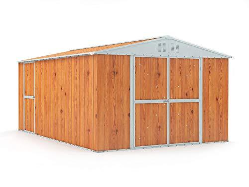 Notek Box in Acciaio Zincato Casetta da Giardino in Lamiera 3.27 x 4.59 m x h2.17 m - 201 kg – 15,01 Metri Quadri – Legno