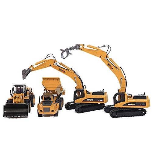 Engineering Construction Vehicles Cars Toy,Excavator,Dumper,Bulldozer, Construction Grapple Fork Vehicles Models Toys for Kids Boys Adults Children Age 2+ Year Olds