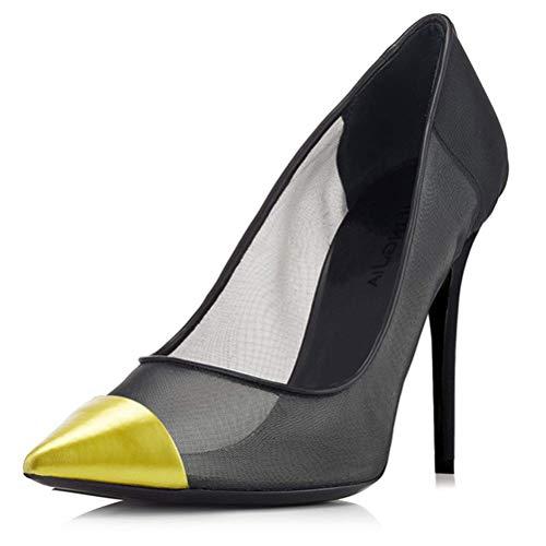Insole 8Cm-Frauen-Absatz High Heel, Dünne Ferse Spitzschuh Schwarz Mesh Und Leder Splice-Pumpen-Schuhe Für Kleid Arbeit Daily Life,Gelb,44