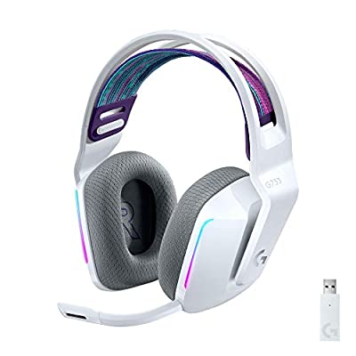 Logitech G733 Lightspeed Wireless Gaming Headset with Suspension Headband, LIGHTSYNC RGB, Blue VO!CE mic Technology and PRO-G Audio Drivers - White
