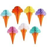 Yudanny Decoración para colgar fiestas, papel de seda de helado de panal de abeja para helados, para bodas, fiestas de cumpleaños, hogar, aulas, decoración al aire libre, juego de 7