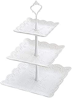 WATBOB 3-Tier Cake Stand and Fruit Plate Cupcake Plastic Stand White for Cakes Desserts Fruits Candy Buffet Stand for Wedding & Home & Birthday Party Serving Platter/Pastry Stand White Set for Party