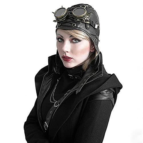 HehiFRlark Sombrero de Aviador, Casco de Cuero, Gorra Steampunk de piloto, Sombrero de Aviador Vintage para Hombres y Mujeres, Accesorios Decorativos de Cuero