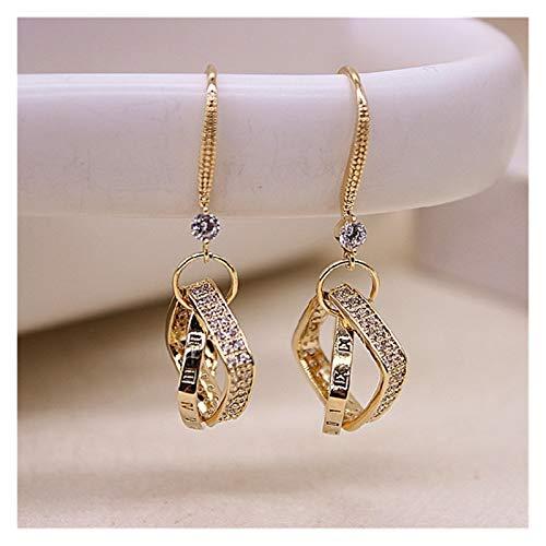 LICAILONGJIN7 Earings Pendientes de Plata esterlina en Forma de Diamante en Forma de Diamante Coreano Femenino nuevos Pendientes de Temperamento Largo Moderno Pendientes Simples Aretes (Color : A)