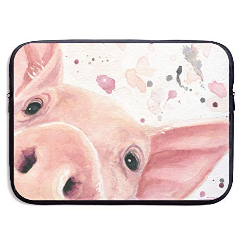 Waterproof Laptop Sleeve 15 Inch, Watercolor Pig Business Briefcase Protective Bag, Computer Case Cover for Ultrabook, MacBook Pro, MacBook Air, Asus, Samsung, Sony, Notebook