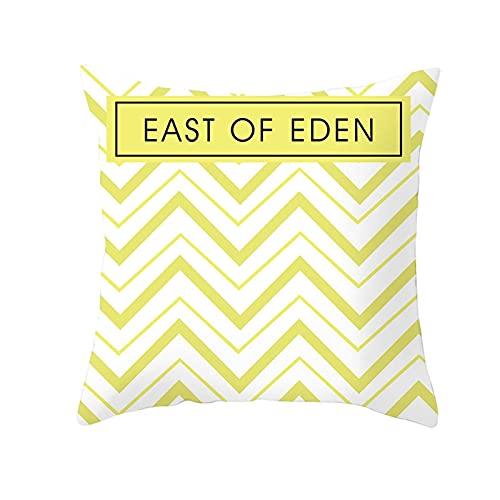 Agoble Copricuscini Giallo Bianco East Of Eden Con Wave, Poliestere Cuscini Sedie 45x45cm/18x18Inch
