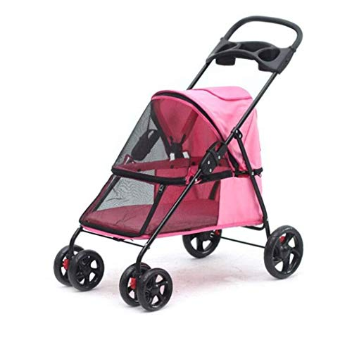 ZUQIEE Cochecito de niño de Cuatro Ruedas, Asientos elevados Pet Supplies for los pequeños Perros/Gatos, fácil de Plegar con Grandes Canasta de Almacenamiento (Color : Pink)