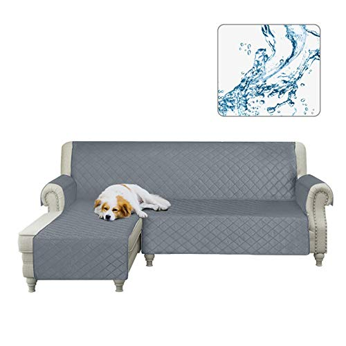 Arfntevss Sofa Slipcovers Water Resistant Sectional Couch Covers L Shape Sofa Cover for Living Room Anti-Slip L-Shaped Couch Slip Cover for Dogs Pets Reversible Furniture Protector (Grey, Large)