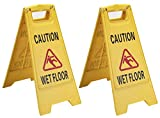 Caution Wet Floor Sign (2-Pack) – A-Frame Warning Sign, 24 Inches Tall – Opens 12 Inches – Perfect for Safety in Restaurants, Warehouses, Offices, Bathrooms, and Anywhere with a Spill