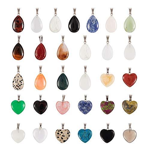 PandaHall 28 colgantes de piedras preciosas naturales y sintéticas, con acabado de latón en tono platino, lágrima y corazón