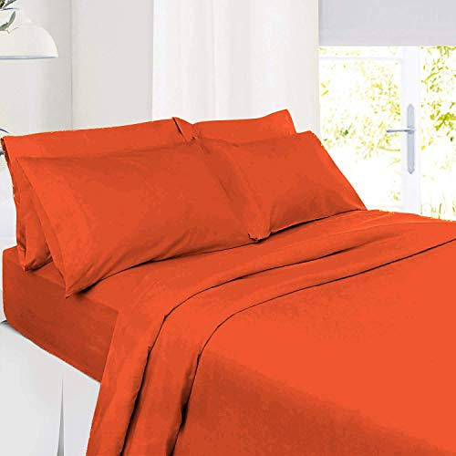 JS Sanders Collection 100% Egyptian Cotton 3 Piece Sheet Set Olympic Queen Size with 16' Deep Pocket, 100% Egyptian Cotton Solid Orange